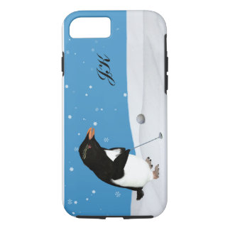 Capa iPhone 8/7 Pinguim cómico que joga o golfe, monograma