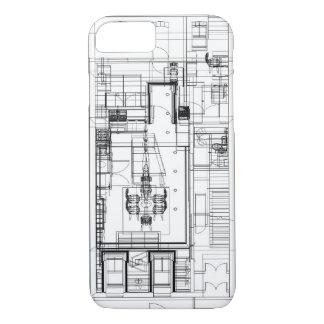 Capa iPhone 8/7 planta baixa arquitectónica do wireframe
