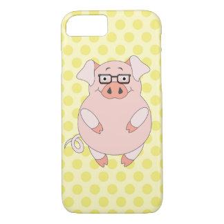Capa iPhone 8/7 Polkadot amarelo & cor-de-rosa leitão