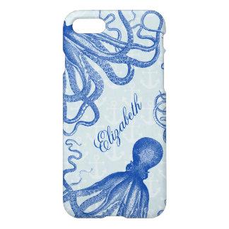Capa iPhone 8/7 Polvo azul do vintage com as âncoras