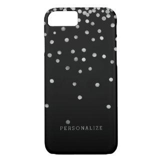 Capa iPhone 8/7 Pontos de prata e pretos dos confetes da aguarela