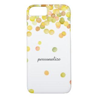 Capa iPhone 8/7 Pontos dos confetes da aguarela do ouro amarelo