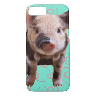 Capa iPhone 8/7 Porco bonito - redemoinhos do azul & do rosa