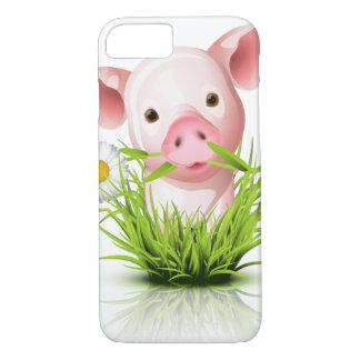 Capa iPhone 8/7 Porco cor-de-rosa pequeno na grama