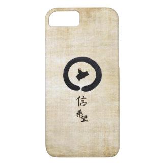 Capa iPhone 8/7 Porco-Esperança e fé do vôo na caligrafia chinesa