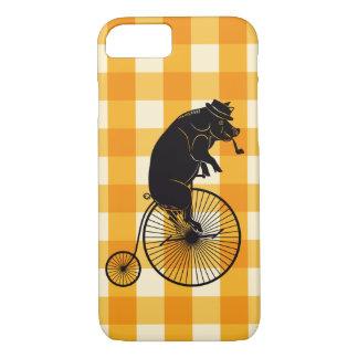 Capa iPhone 8/7 Porco ou porco que montam uma bicicleta do