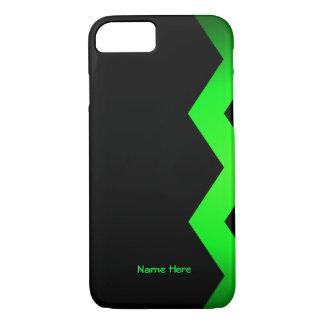 Capa iPhone 8/7 Preto com nome do costume do ziguezague do verde