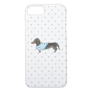 Capa iPhone 8/7 Preto e Dachshund de Tan - aguarela & bolinhas