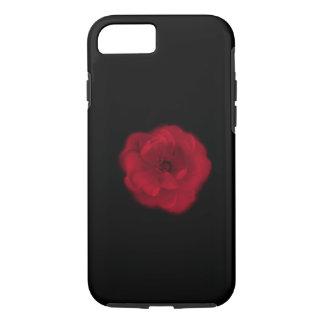 Capa iPhone 8/7 Rosa vermelha. Fundo preto