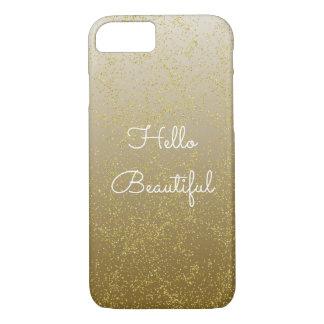 Capa iPhone 8/7 Sparkles chiques dos confetes do ouro olá! bonitos