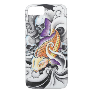 Capa iPhone 8/7 Tatuagem oriental legal do crânio da carpa de Koi