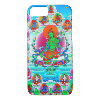 Capa iPhone 8/7 Tatuagem tibetano oriental legal de Tara do verde