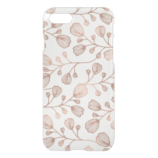 Capa iPhone 8/7 Teste padrão botânico cor-de-rosa da folha de ouro