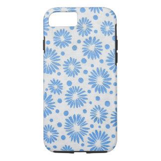 Capa iPhone 8/7 Teste padrão de flor retro feminino floral azul