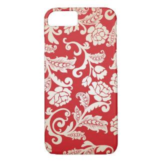 Capa iPhone 8/7 Teste padrão floral do fundo do damasco