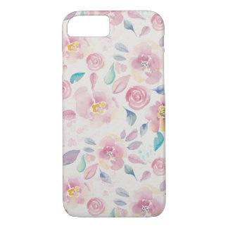 Capa iPhone 8/7 Teste padrão floral do rosa e da turquesa