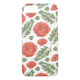 Capa iPhone 8/7 Teste padrão floral ilustrado dos rosas