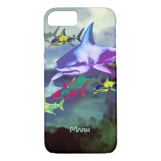 Capa iPhone 8/7 tubarões legal selvagens coloridos