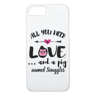 Capa iPhone 8/7 Tudo que você precisa é amor e um porco