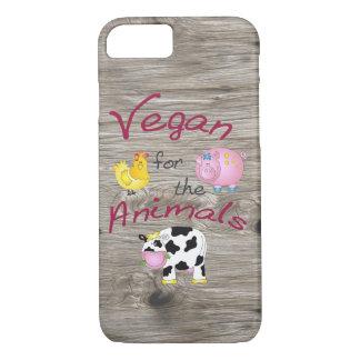 """Capa iPhone 8/7 """"Vegan para os animais"""" com porco bonito, vaca &"""
