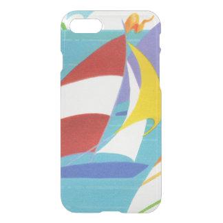 Capa iPhone 8/7 Veleiros abstratos coloridos do vintage na água