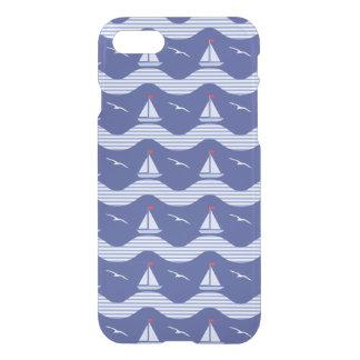Capa iPhone 8/7 Veleiros em um teste padrão listrado do mar