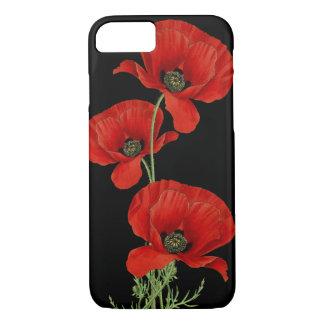 Capa iPhone 8/7 Vintage vermelho das papoilas botânico