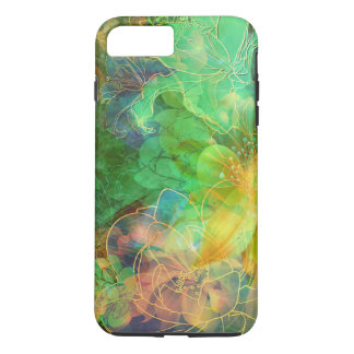 Capa iPhone 8 Plus/7 Plus Abstrato verde e amarelo dos tons floral