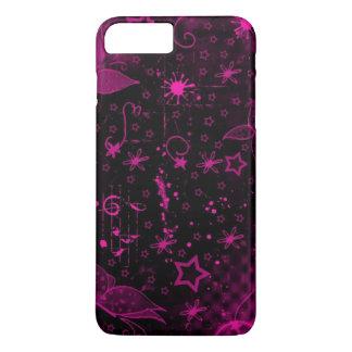 Capa iPhone 8 Plus/7 Plus arte cor-de-rosa no fundo preto