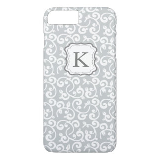 Capa iPhone 8 Plus/7 Plus As cinzas florais do monograma feminino,