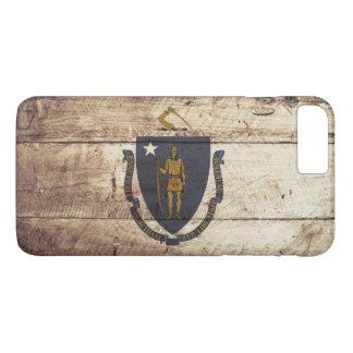 Capa iPhone 8 Plus/7 Plus Bandeira do estado de Massachusetts na grão de