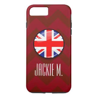 Capa iPhone 8 Plus/7 Plus Bandeira inglesa BRITÂNICA do círculo lustroso