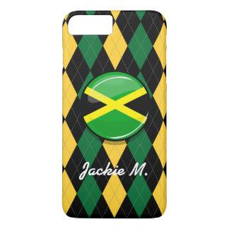 Capa iPhone 8 Plus/7 Plus Bandeira jamaicana redonda lustrosa