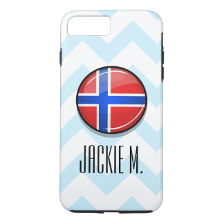 Capa iPhone 8 Plus/7 Plus Bandeira redonda lustrosa de Noruega