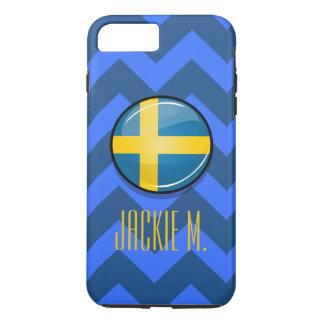 Capa iPhone 8 Plus/7 Plus Bandeira sueco redonda lustrosa