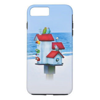 Capa iPhone 8 Plus/7 Plus Birdhouse com papagaios e Parakeets