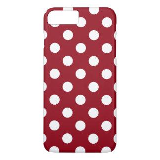 Capa iPhone 8 Plus/7 Plus Bolinhas brancas no vermelho carmesim