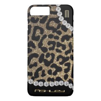 Capa iPhone 8 Plus/7 Plus Brilho do monograma do leopardo