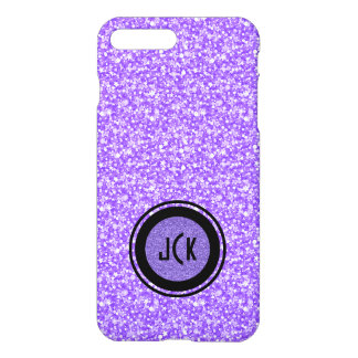 Capa iPhone 8 Plus/ 7 Plus Brilho & Sparkles roxos de Monogramed