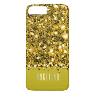 Capa iPhone 8 Plus/7 Plus Caixa Sparkly amarela glamoroso dos confetes do