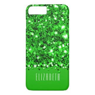 Capa iPhone 8 Plus/7 Plus Caixa Sparkly verde glamoroso dos confetes do
