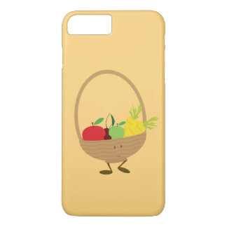 Capa iPhone 8 Plus/7 Plus Caráter de sorriso da cesta de frutas e legumes