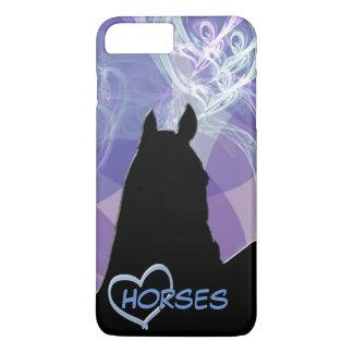 Capa iPhone 8 Plus/7 Plus Cavalo do coração mim (Fractual roxo)
