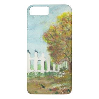 Capa iPhone 8 Plus/7 Plus Cerca e árvore de piquete do outono com aguarela