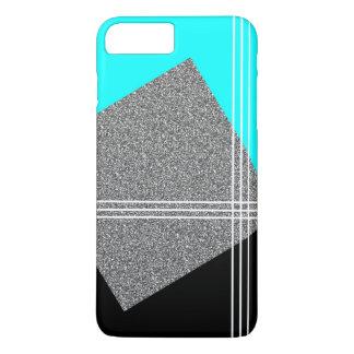 Capa iPhone 8 Plus/7 Plus Cerceta e preto com quadrado de prata