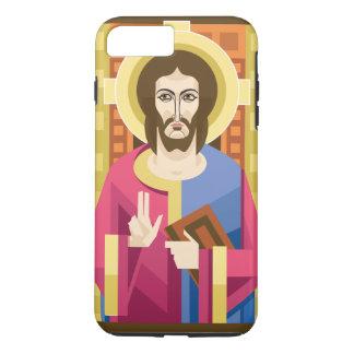 Capa iPhone 8 Plus/7 Plus Christos - ícone bizantino ortodoxo - caso do
