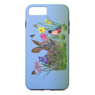 Capa iPhone 8 Plus/7 Plus Coelho de coelho, pisco de peito vermelho, e