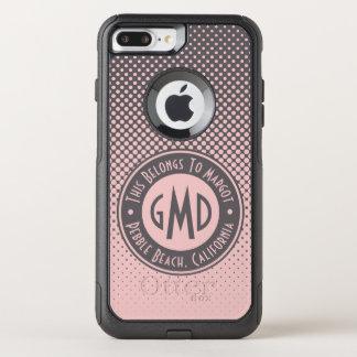 Capa iPhone 8 Plus/7 Plus Commuter OtterBox Na moda cinzento cor-de-rosa milenar do monograma