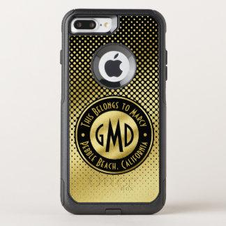 Capa iPhone 8 Plus/7 Plus Commuter OtterBox Preto do brilho do ouro do monograma das bolinhas