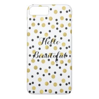 Capa iPhone 8 Plus/7 Plus Confetes chiques do preto e do ouro bonitos